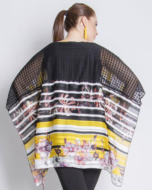 Chiffon kaftan lace back