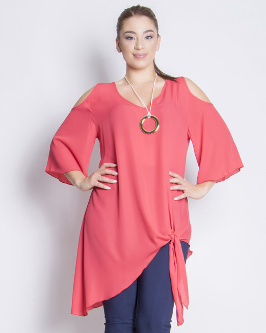 Cold-shoulders Asymmetric Blouses