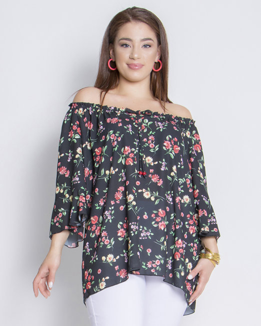 Georgette floral blouse with flounced sleeves