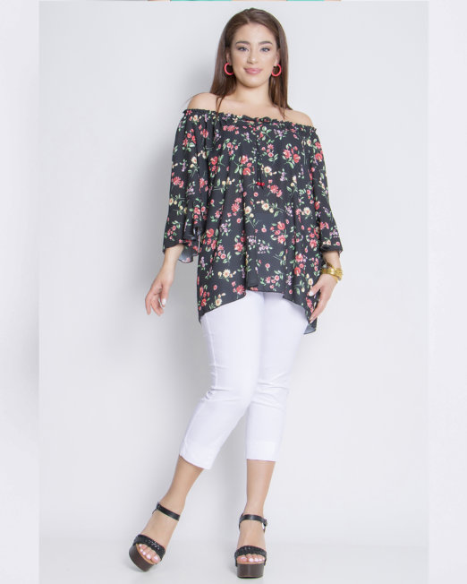 Georgette floral blouse with flounced sleeves with pant